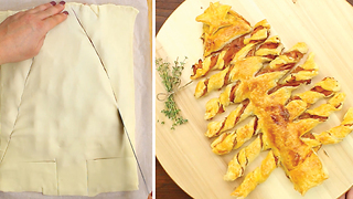 Learn How To Make Yummy Christmas Tree Out Of Puff Pastry - Video