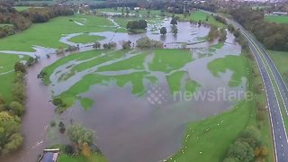 Drone footage shows flooding in Cumbria, UK