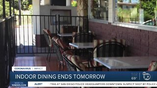 Indoor dining ends Tuesday