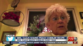 Mrs. Claus shares her famous peach cobbler recipe just in time for Christmas