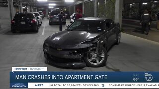 Driver crashes through Chula Vista apartment gate, hits wall