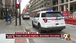 Three hurt in partial building collapse