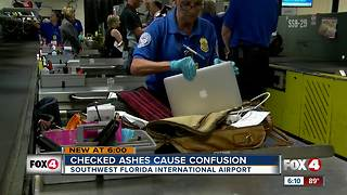 Woman upset after husband's ashes break loose in luggage - Video