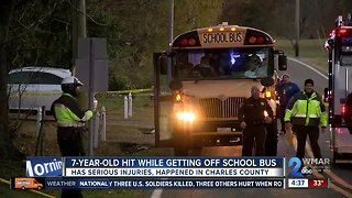 Vehicle runs over 7 y/o student getting off school bus