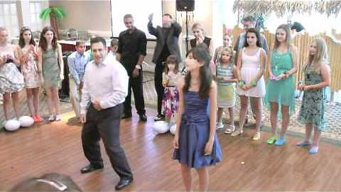 Father-Daughter Duo Perform Choreographed Dance At Bat Mitzvah