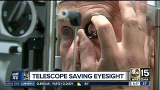 Man's sight back after telescope implant - Video
