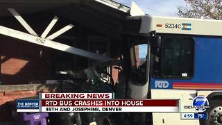 3 injured as RTD bus crashes into Denver home - Video