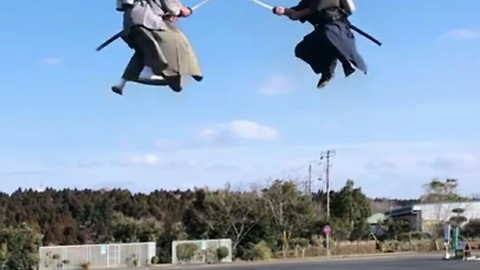 Japanese Samurai Engage In Sword Fighting Midair Using Jetpacks