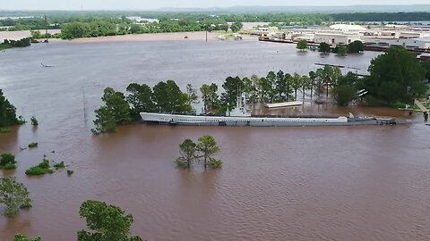 Drone video of the USS Batfish floating in floodwater