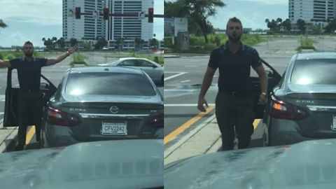 Watch This Crazy Guy Hock A Rage Loogie At Traffic Stop