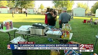 Claremore woman throws her own birthday party to give back to the community - Video