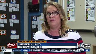 Las Vegas teacher making stockings for students - Video