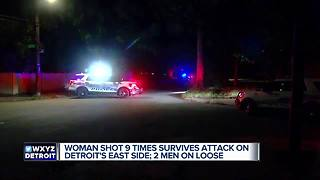 Woman in stable condition after being shot 9 times on Detroit's east side