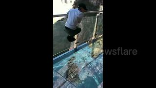 Tourist Freaks Out When Glass Walkway Cracks Under His Weight - Video