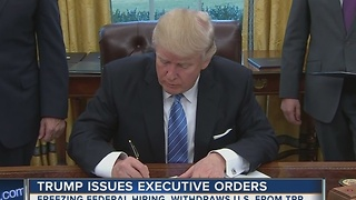 President Trump signs executive order formally withdrawing from Trans-Pacific Partnership deal - Video