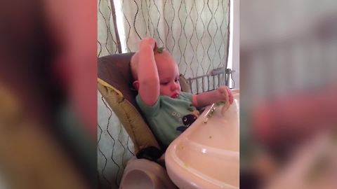 Baby Boy Puts Peas On His Head