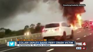 Deputy rescues driver in fiery crash - Video