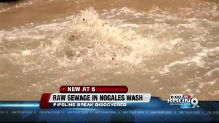 Untreated waste flowing into Nogales Wash following pipe breach - Video