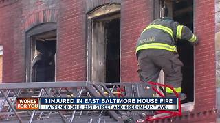 One injured in E. Baltimore fire overnight - Video