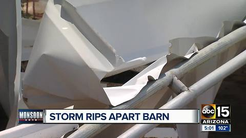 Family recovering after Sunday's storm destroyed their barn