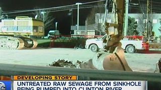 Untreated raw sewage from sinkhole being pumped into Clinton River - Video