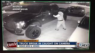 Man caught breaking into truck on camera - Video