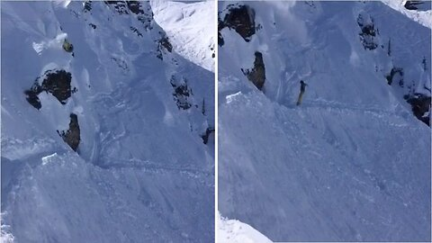 Snowboarder takes direct route on descent after failing to land double front flip