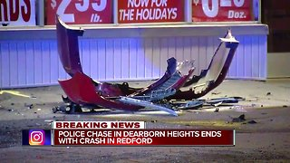 Police chase in Dearborn Heights ends with crash in Redford - Video