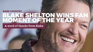 Blake Shelton Wins Fan Moment of the Year | Rare Country Awards - Video