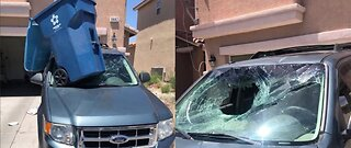 CAUGHT ON CAMERA: Trash can smashes windshield