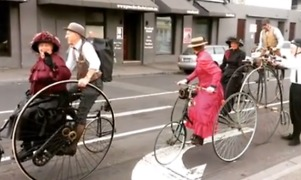 Penny Farthing and Tandem Bikes Seen Gliding Down Melbourne on Australia Day - Video