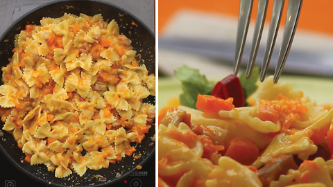 Pasta with pumpkin, cheese and speck: an extremely tasty first course with autumnal ingredients