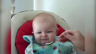 """""""A Baby Girl Eats Applesauce For The First Time"""""""
