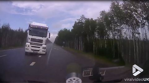 Near death collision with truck