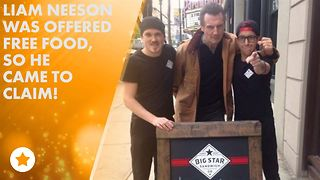 Canadian deli attracts Liam Neeson with free food - Video