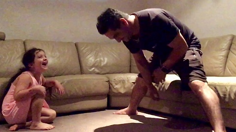 Little Girl's Hilarious Laughter at her Daddy's Moves