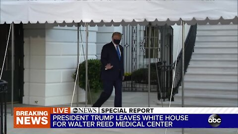 President Trump departs White House for Walter Reed