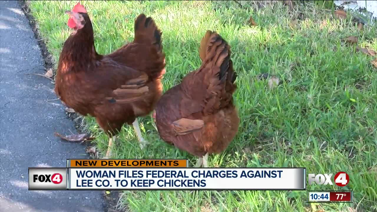 Woman in Fort Myers now filing federal charges against Lee County to keep emotional support chickens