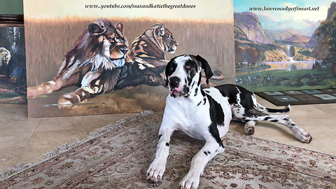 Majestic puppy poses like lion in beautiful painting