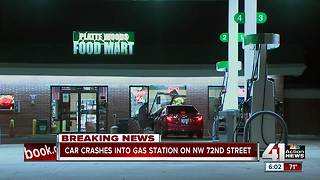 1 person injured after car crashes into gas station