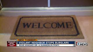 Vigilant neighbor stops burglars - Video