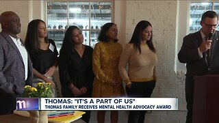 Thomas family receives mental health advocacy award