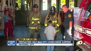 Firefighters help man with homecoming surprise - Video