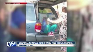 Woman charged for driving grandchildren in dog kennels - Video