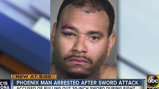 Police: Phoenix man threatens to cut another man with a 30-inch Katana sword - Video