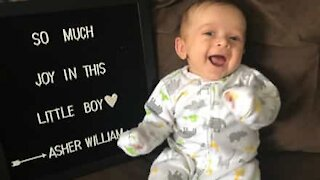 Baby can't stop laughing at hearing random words