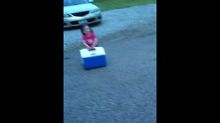 Precious Tot Girl Carries A Cooler - Video