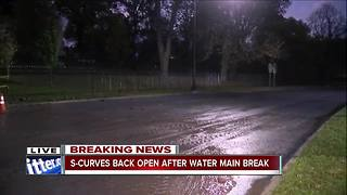S-Curves reopen after early morning water main break - Video