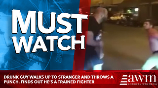 Drunk Guy Walks Up To Stranger And Throws A Punch. Finds Out He's A Trained Fighter - Video