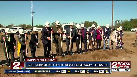 Governor Kevin Stitt and Mayor GT Bynum break ground of Gilcrease Expressway expansion